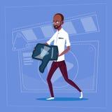 African American Man Hold Thumb Down Modern Video Blogger Vlog Creator Channel Dislike. Flat Vector Illustration Stock Image