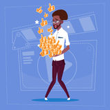 African American Man Hold Thumb Up Modern Video Blogger Vlog Creator Channel Like. Flat Vector Illustration Royalty Free Stock Image