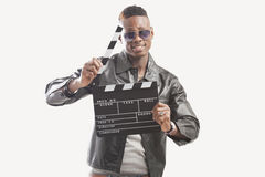 African american man holding chalkboard royalty free stock photos