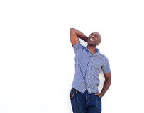 African american man laughing and looking up Stock Photos