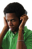 African american man listening music Stock Photos