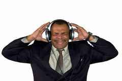 An African-American man listening to bad sound