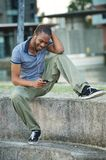 African American Man Listening to Music Stock Photos