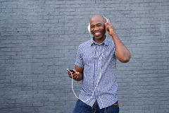 African american man listening to music Stock Photo