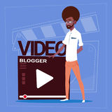 African American Man Over Vlogger Channel Screen Modern Video Blogger Vlog Creator. Flat Vector Illustration Royalty Free Stock Photos