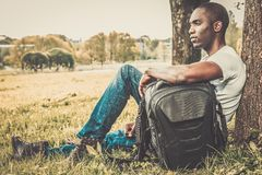 African american man in a park Stock Photos