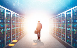 African American man in a server room, sunlight Royalty Free Stock Photos