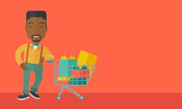African-american Man with shopping cart Stock Images
