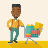 African-american Man with shopping cart Royalty Free Stock Photography