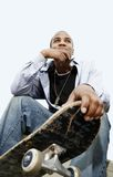 African American Man With Skateboard Royalty Free Stock Images
