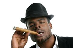 African american man smoking cigar portrait Royalty Free Stock Image