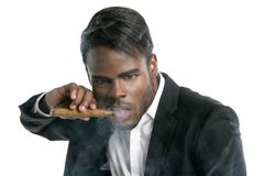 African american man smoking cigar portrait Stock Photo