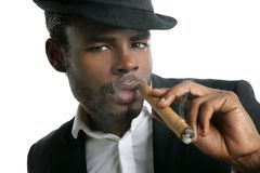 African american man smoking cigar portrait Royalty Free Stock Images