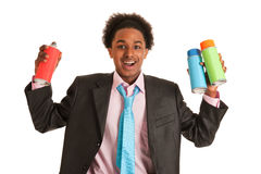 African American man spraying graffiti Royalty Free Stock Image