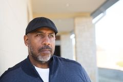 Mature African American man in deep thought. Stock Images