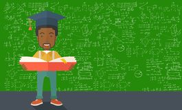 African-american man standing with graduation cap Royalty Free Stock Images