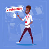 African American Man Subscribe Modern Video Blogger Vlog Creator Channel Like. Flat Vector Illustration Stock Images