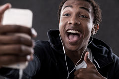 African American man with thumb up Stock Photo