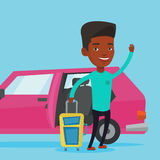 African-american man traveling by car. Stock Image