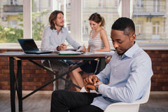 African american man waiting for job interview Stock Images