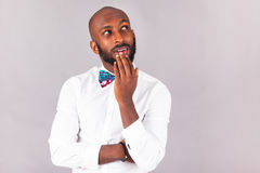 African American man wearing an Tradional bow tie stock photography