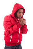 African American man wearing a winter coat Royalty Free Stock Photography