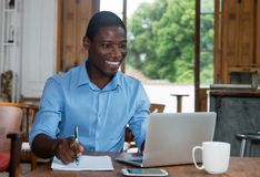African american man working at computer Royalty Free Stock Image