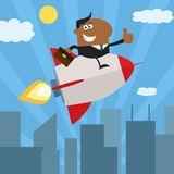 African American Manager Flying Over City And Giving Thumb Up.Flat Style Stock Images