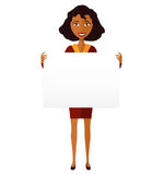 African American manager woman holding sign or banner isolated o stock images