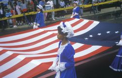African-American Marcher in American Bicentennial Parade, Philadelphia, Pennsylvania Royalty Free Stock Image