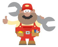 African American Mechanic Cartoon Character Holding Huge Wrench And Giving A Thumb Up Flat Syle Stock Photos