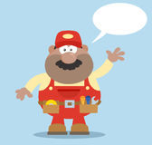 African American Mechanic Cartoon Character Waving For Greeting Flat Style Royalty Free Stock Image