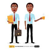 African American men enjoying cup coffee flat cartoon vector iso Stock Photography