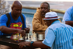 African American Men Play Chess Outdoors At Atlanta Public Park Royalty Free Stock Image