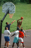 African American men playing. Basketball at a park in Blue Ridge, Virginia Royalty Free Stock Image
