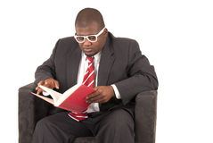 African American model in gray business suit red striped tie  Royalty Free Stock Photos
