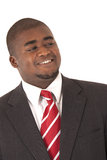 African American model in gray business suit red striped tie  Royalty Free Stock Photo