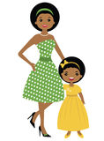 African-american mom and daughter fifties style. A vector illustration of an african-american mom and daughter fifties style Royalty Free Stock Photo
