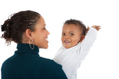 African American Mom Holding Baby Boy Smile Isolated Stock Photo