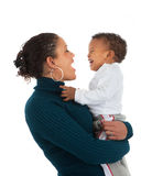 African American Mom Holding Baby Boy Smile Isolated Royalty Free Stock Photos