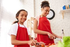 African American mother with daughter cutting royalty free stock images