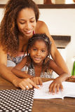 African american mother and daughter studying Stock Photography