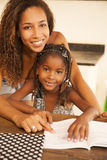 African american mother and daughter studying Royalty Free Stock Photography