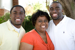 African American mother and her adult sons. Stock Images