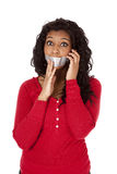 African American mouth taped phone Stock Photos
