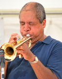 African american musician. Jazz trumpet player blowing his horn in concert on stage Royalty Free Stock Photography