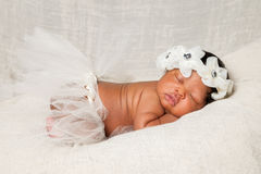 African American Newborn Asleep Ivory Headband Tutu Stock Photography
