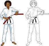 African American Nunchuck girl in karategi Stock Photography