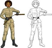 African American Nunchuck girl in military uniform Royalty Free Stock Photos