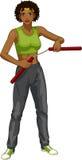 African American Nunchuck girl in sport uniform Stock Images